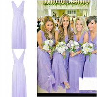 Reference Images Ruffle Sleeveless 2014 New Fashion Sexy Floral V-Neck Greek Goddess Sheath Floor Length Lavender Chiffon Cheap Summer Beach Bridesmaid Party Dresses