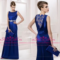 Wholesale Scoop Mother Of The Bride Dresses Lace Long Evening Dress Royal Blue sheer lace back Prom evening Gowns MG2516 Top Selling