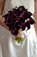Wholesale DES FLORAL Decorative flower Artificial Dark Purple Mini Calla Lily Bouquet For Wedding Decoration