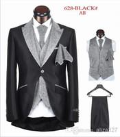 Men Pant Suit Formal Wholesale - Free shipping 2014 hot sale mens suits wedding groom suit men for wedding one button five pieces black white sliver XS-4XL