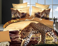 Wholesale 3D Comforters Leopard Printed Cotton Fabric Bedding Set Quilt Duvet Cover Flat Bed Sheet Pillow cases Queen King Size JF051