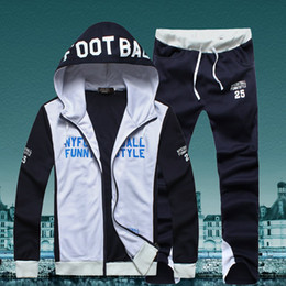 Wholesale 2014 new men s tracksuit sport suit wollen hooded lerisure spring white red made in china fashion coat with pants