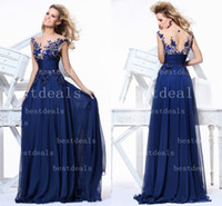 Illusion crew neck prom dresses 2014 navy blue lace applique...