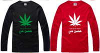 Wholesale Marijuana leaf T Shirt roll up the weed get twist cotton color long sleve