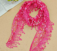 Wholesale 2014 New Fashion Scarf Women Embroidery Rose Lace Triangle Pendant Shawls Scarves wrap Colors Hot Sale