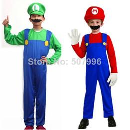 Wholesale Hot Kids Super Mario Bros Cosplay Costume Set Kids Halloween Party MARIO LUIGI Costume For Kids D