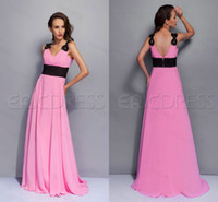 Wholesale Multi Color Pink and Black Chiffon V Neck Beach Bridesmaid Dresses Cheap Under Sweep Train Summer Fall Sale Bridal Party Gowns Sale