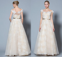 Wholesale WM Exquisite New Champagne Wedding Gown with Allover Florals and Golden Fabric Belt Scoop Neck Sexy Lace Applique Ties Top Bridal Dress
