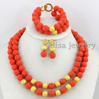Wholesale Pink Carved Rose Flower Coral Beads Wedding Jewelry Set Coral Necklace Wedding Gift Bridesmaid Necklace Coral Beads Necklace