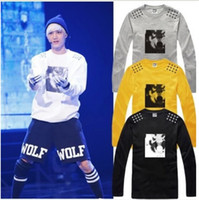 Wholesale new arrival kpop T shirt Wolf Tshirt five star wolf printed t shirt long sleeve tee shirt Color cotton