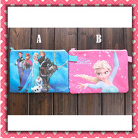 Wholesale Frozen Elsa Anna School Stationery File Pocket Cartoon Study Supplies Snow Queen Plastic Document Pouch Bags