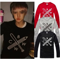 Wholesale Chinese Size S XXXL new sale exo t shirt baseball bar pencil printed t shirt BWCW long sleeve shirt cotton color