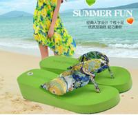 Beach silk slippers women - 2014 bohemia silks and satins female flip flops summer wedges slippers sandals slip resistant slippers Women Beach Slippers