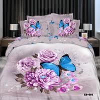 achat en gros de reine couette floral-Couettes 3D Literie Papillon Reine King Size 100 % coton Tissu mariage housse de couette 4 pièces Drap plat taies Fashion Style