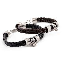Wholesale 20pcs ARUI skull jewelry in silver leather bracelet skull imitation jewelry mens bracelets ARSZ L0054