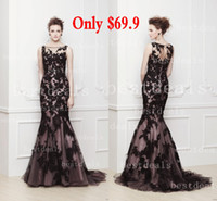 2014 sheer high neck Mermaid prom dress with black lace slee...