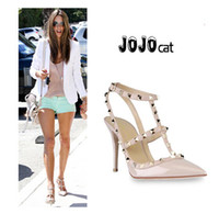 Women beige slingback heels - shoes woman party fashion rivets girls sexy pointed toe high heels shoes buckle platform pumps wedding shoes