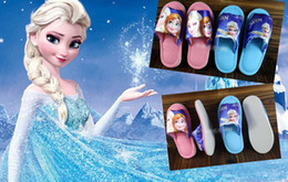Wholesale 9 off IN STOCK Fashion Pretty Snow adventure Frozen elsa anna Household shoes Child yards slippers DROP SHIPPING hot sale pairs MC
