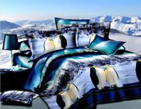 Polyester / Cotton   Penguin comforter bedding set blue queen size comforters sets bed linen sheet quilt duvet cover bedspread bedcloth oil painting