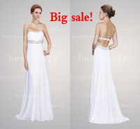 white backless evening dresses 2014 strapless crystal A line...