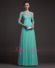 Wholesale 2014 Sexy Prom Dresses with Crew Neck A Line Long Sleeve Zipper Back Lace Applique Beads Ruffle Chiffon Long Pageant Party Evening Gowns