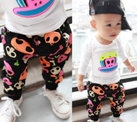 Wholesale Child Baby Casual Skull Pattern Pants Kid Harem Trousers Clothes Children Skeleton Boys Girls Leisure Harown Pant Black Red With Velve D0115