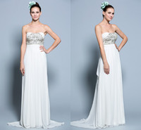 A-Line Reference Images Strapless Amazing Crystals Sweetheart Bodice Grecian Bridal Gown Chiffon Beaded Applique Shiny Sexy Long Summer Beach Wedding Dresses Hot