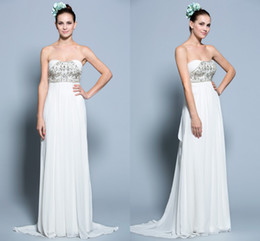 Wholesale Amazing Crystals Sweetheart Bodice Grecian Bridal Gown Chiffon Beaded Applique Shiny Sexy Long Summer Beach Wedding Dresses Hot