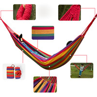 Cotten Outdoor Furniture Yes Multicolored 280*80C Outdoor Camping Portable Single Person Nylon Canvas Swing Bed Hammock