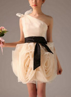Wholesale Dora Flowers Champagne Colored One shoulder Princess Wedding Dress with Black Bow