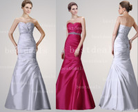 in stock satin mermaid evening dresses 2014 formal sweethear...