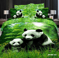 Wholesale Panda D Bedding Sets Queen King Size Cotton Fabric Quilt Duvet Cover Flat Fitted Bed Sheet Pillowcase Panda on the Green Grass