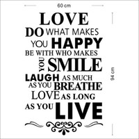 Removable wall quotes - Peel and stick Love Happy Smile Live Removable Vinyl Wall Quote Sticker Decal Art Home Decor