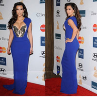 Reference Images V-Neck Chiffon 2013 2014 Sexy Kim Kardashian Albanian Evening Dresses Floor-Length Chiffon Royal Blue Celebrity Dresses Prom Dresses