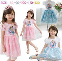 New Arrival Frozen Elsa Anna Cartoon Skrit Short Sleeve Girl...