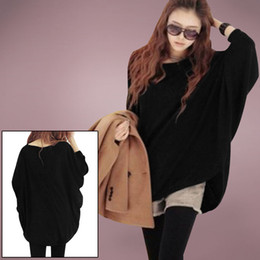 Wholesale 2016 New Fashion Korean Design Printed Fashion Loose Pullovers Batwing Tops Long Sleeve Knitted Sweater Women Casual Wear G0300