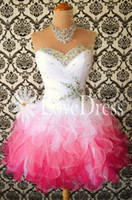 Wholesale Cute Sweetheart Short Homecoming Dresses with Crystals Princess Dress Ball Gown Organza Short Mini Party Graduation Dresses with Rhinestones