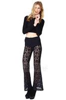 Wholesale Womens Palazzo Wide Leg Crochet Vintage lace pants Designed underwear see through black sexy Pant
