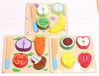 Stuffed Wood 2 -4Years Free shipping New arrival outdoor fun & sports wooden fruit ninja toys cut fruit play house toys HT490