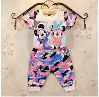 Girl Summer Short 2014 New Arrival Cartoon Casual Sets Children's Short Sleeve T-Shirt + Pants Girl Camouflage suits Kids Outfits 5 Set lot S0620-24