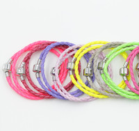 Chains Copper  MIC Fashion Pandora Double Rainbow Leather Bracelets Fit European Charms Bracelet 57Colors