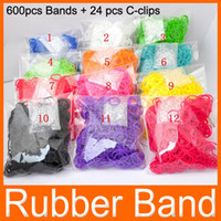 Wholesale colorful Rainbow Loom Rubber bands Rainbow loom Bands CLIPS hook rubber bands For DIY bracelet Accesorries