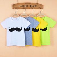 Wholesale Fashion Baby Boys Mustache Short Sleeve Crew Neck T shirt Kids Summer Color Cotton T shirt Children Top T shirt HZ ZJ06