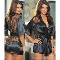 exotic - black home Lingerie Sets Women Underwear imitated silk V neck Exotic Lingerie casual sleepwear