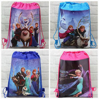 Wholesale 4pcs frozen princess Kids Drawstring New Printed Backpack Bags Shopping School Travel GYM waterproof fabric Non woven gift bags