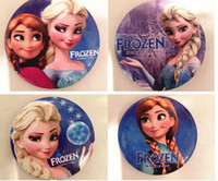 bag charm clips - Frozen Elsa Anna Brooches Pins Cartoon Party Badge Round Pin For Children girl Clip on clothing Scarf Bag charm jewelry
