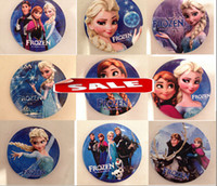 Wholesale Fashion Frozen Elsa Anna Brooches Pins Cartoon Party Badge Round Pin For Children girl Clip on clothing Scarf Bag charm jewelry gifts