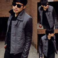 Wholesale sweaters new winter warm men s fashion woolen leather stitching sleeve cotton lapel cotton down s S807