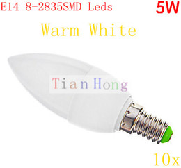 5W LED Candle light E14 led lamp 8SMD 2835 AC110-240V Warm White CE&ROHS Ivory Night Light Candle 10pcs lot
