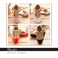 Wholesale 2014 Hot new PRINCESS girls sandals baby leather shoe rivet girl sandal children s dance party flat shoes kids gift pink sandals AXL00001
